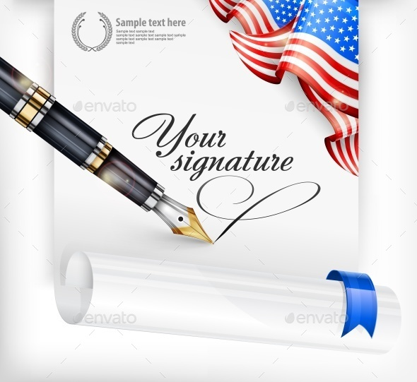 American Blank and Pen - Miscellaneous Vectors