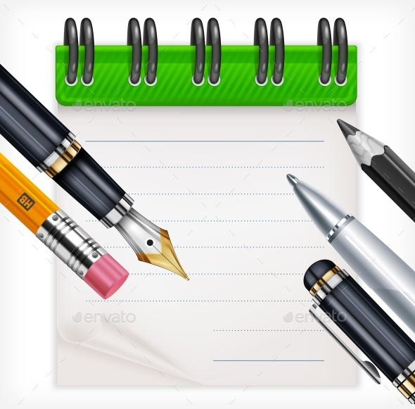 Notebook and Writing Tools - Miscellaneous Vectors