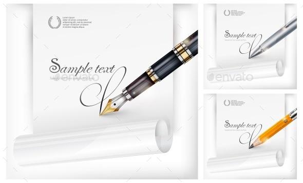 Fountain Pen, Paper Sheet  - Miscellaneous Vectors