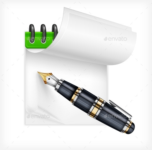 Fountain Pen and Notebook - Miscellaneous Vectors