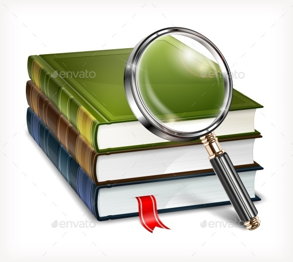 Books and Magnifying Glass on White - Miscellaneous Vectors