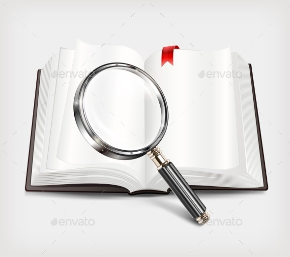 Open Book and Magnifying Glass on White - Miscellaneous Vectors