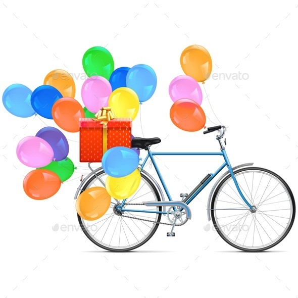 Vector Bicycle with Balloons - Seasons/Holidays Conceptual