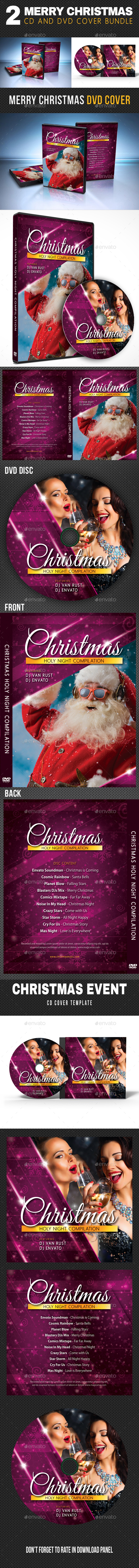 2 in 1 Merry Christmas CD and DVD Cover Bundle - CD & DVD Artwork Print Templates