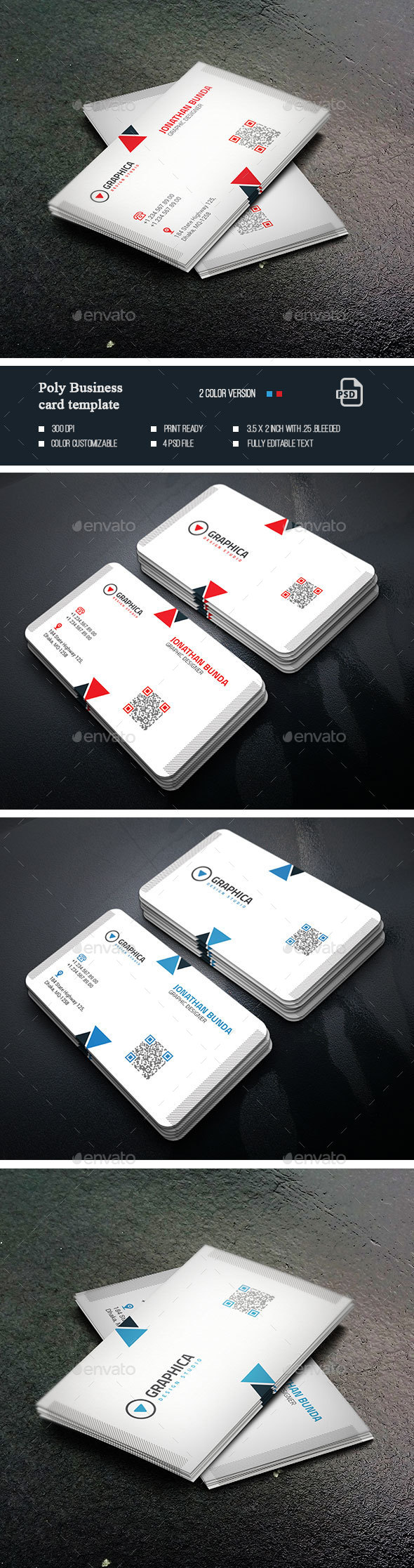 Poly Business Card - Business Cards Print Templates
