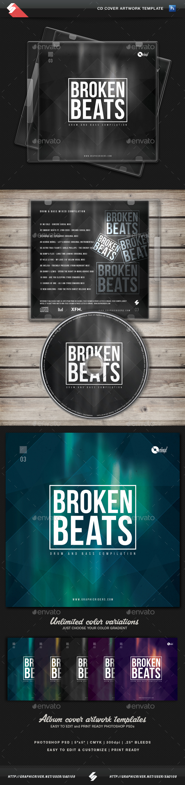 Broken Beats vol3 - CD Cover Artwork Template - CD & DVD Artwork Print Templates