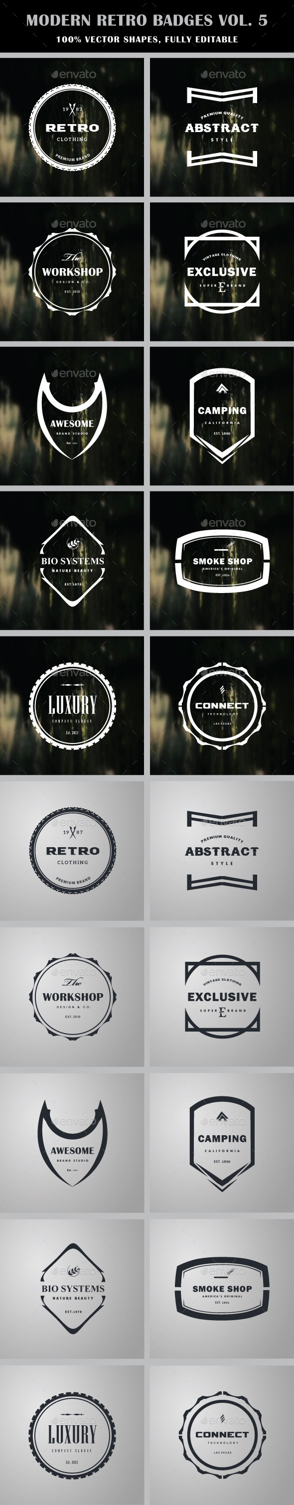 Modern Retro Badges Vol. 5 - Badges & Stickers Web Elements