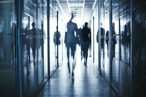 Walking along corridor - Stock Photo - Images