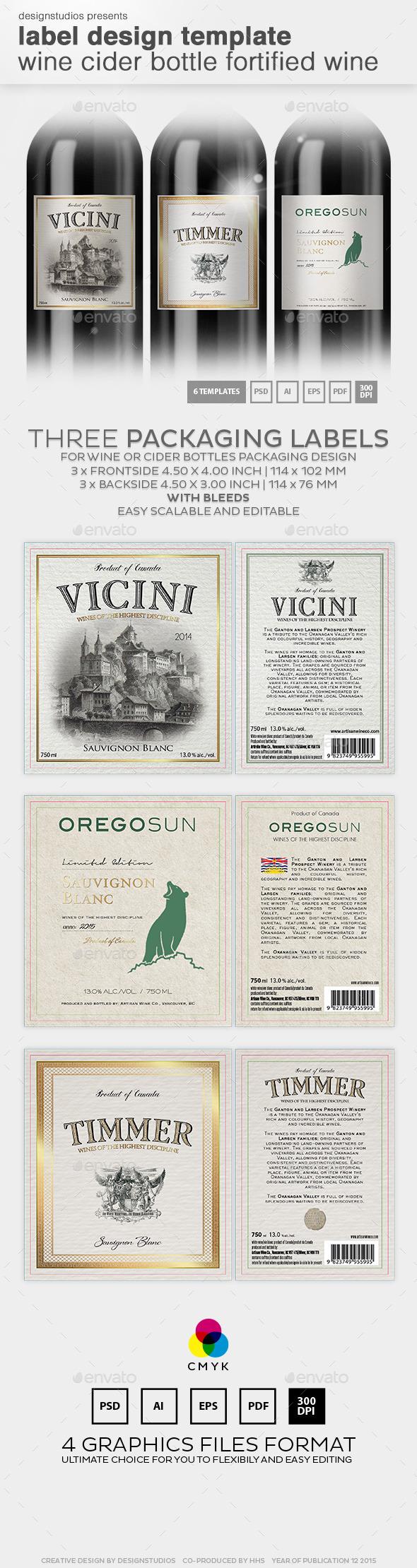Label Design Template Wine & Cider Bottle - Packaging Print Templates