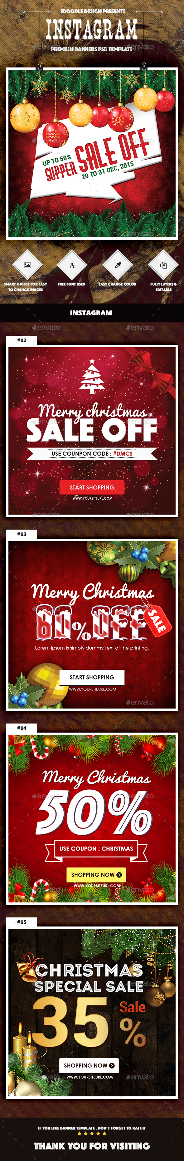 Christmas Instagram Banners Ads - Banners & Ads Web Elements