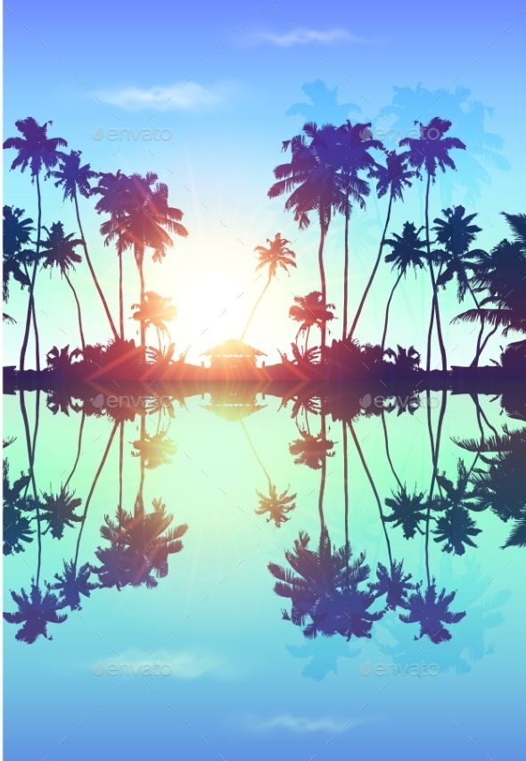 Blue Skypalms Silhouettes With Reflection - Landscapes Nature