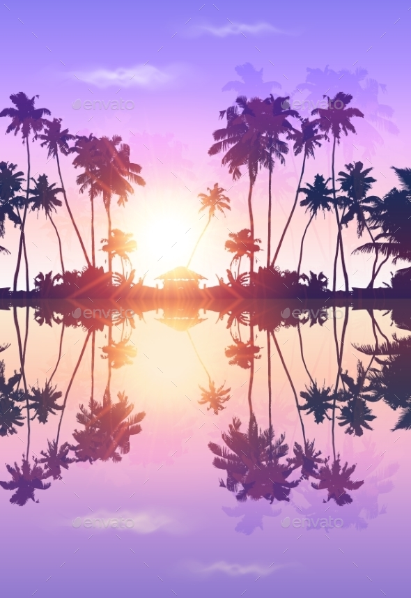 Violet Sky Vector Palms Silhouettes With - Landscapes Nature