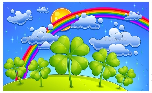 Clovers Under Rainbow - Landscapes Nature