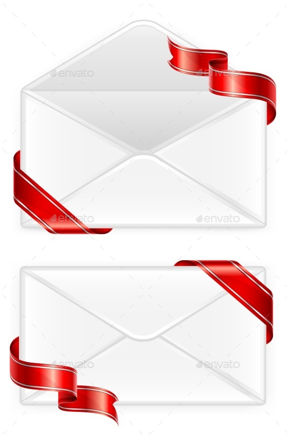 Two Envelopes with Ribbon - Landscapes Nature