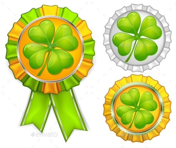 Award Ribbons with Clover - Landscapes Nature