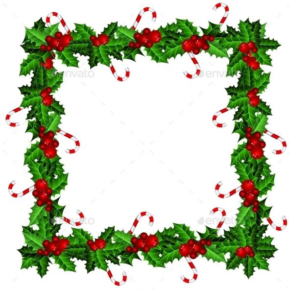 Holly Christmas Frame  - Christmas Seasons/Holidays