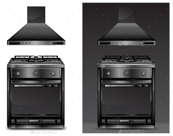 Black Gas Cooker Over - Man-made Objects Objects