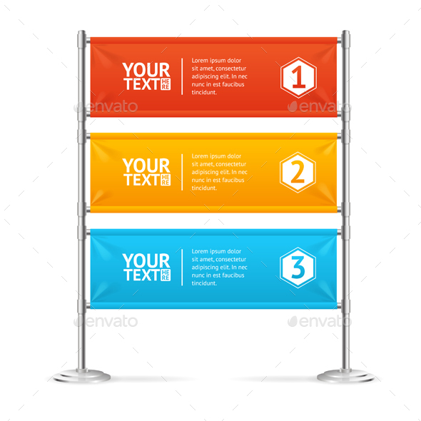Blank Banner Flags Colorful Horizontal with Text - Concepts Business