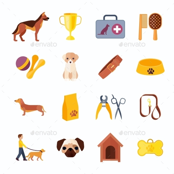 Dogs And Accessories Flat Icons Set - Animals Characters