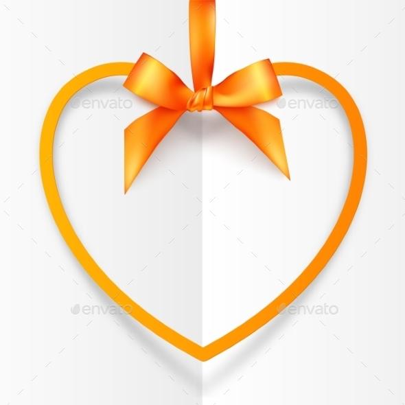 Orange Hanging Heart Frame on Silky Ribbon - Valentines Seasons/Holidays