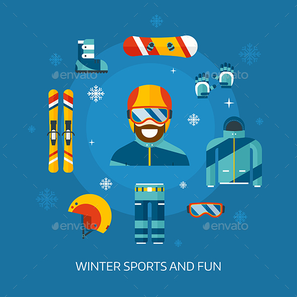 Winter Sports Kit and Boarder Man - Sports/Activity Conceptual