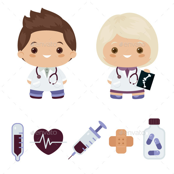 Man and Woman Doctors and Doctor's Objects - Health/Medicine Conceptual
