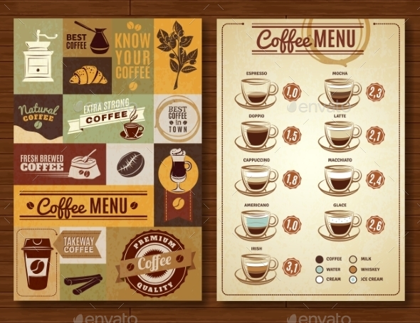 Vintage Coffee Menu 2 Banners Board  - Food Objects