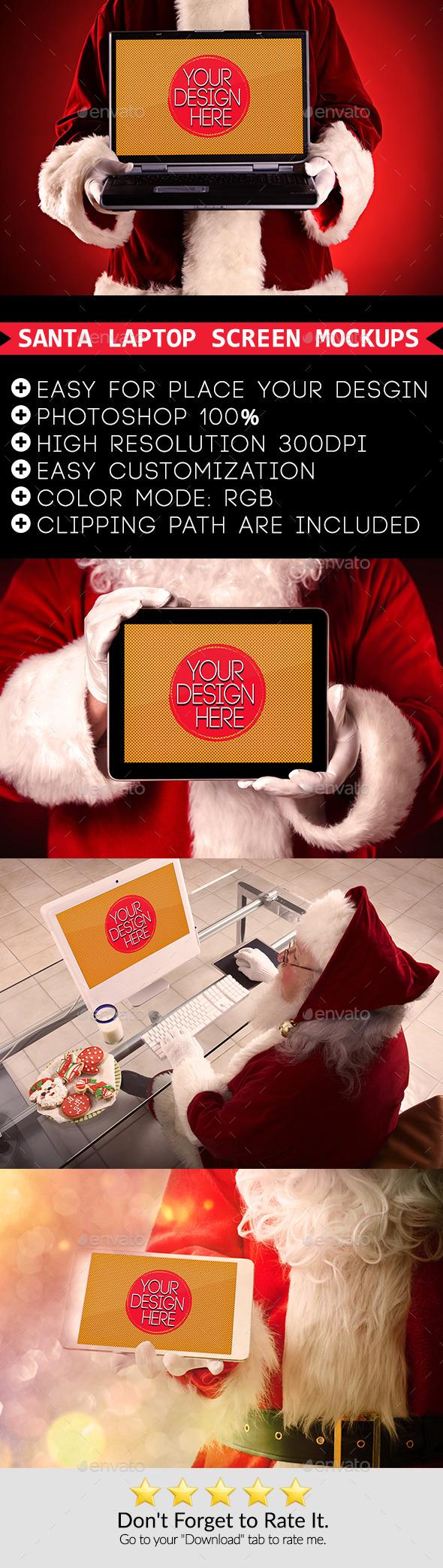 Santa Laptop Screen mockups - Laptop Displays