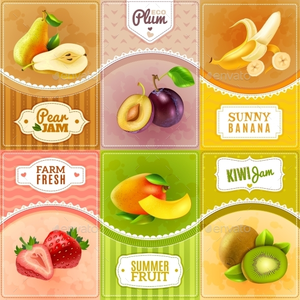 Fruits Berries Flat Icons Composition Poster - Food Objects