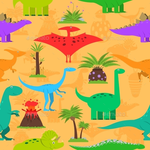 Dinosaurs Seamless Pattern - Animals Characters