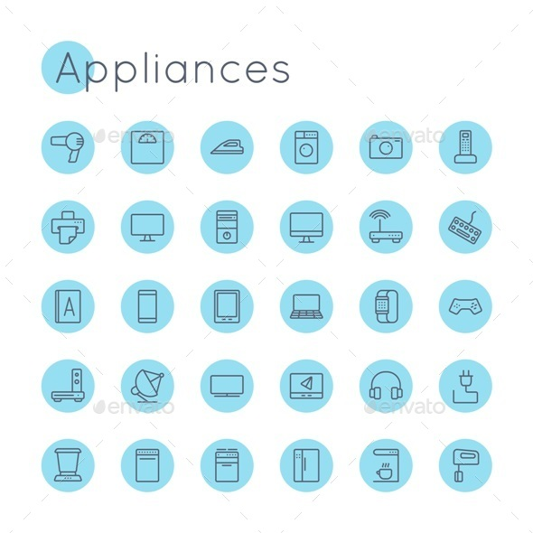 Vector Round Appliances Icons - Technology Icons