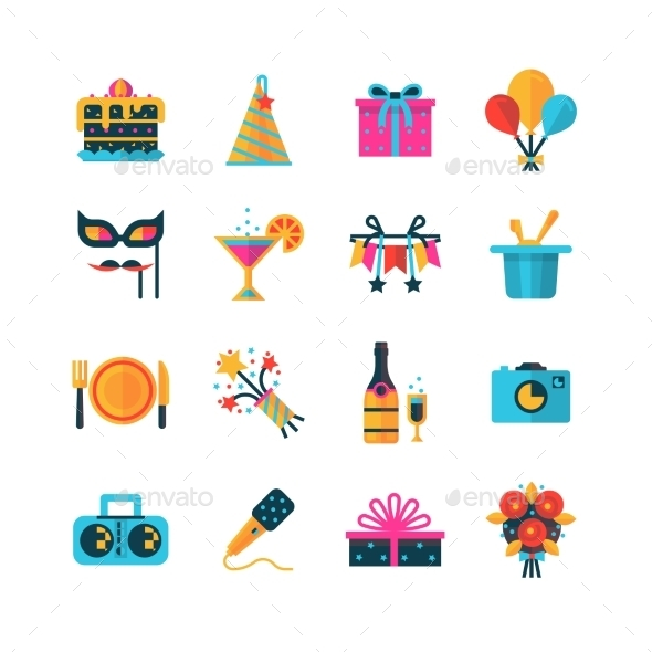 Party Color Icons Set - Web Icons