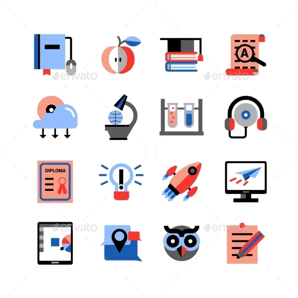 Online Education Icons Set - Technology Icons