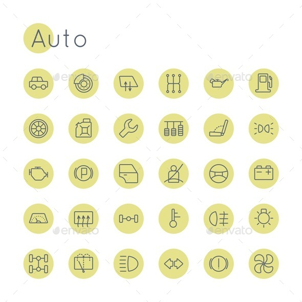 Vector Round Auto Icons - Miscellaneous Icons