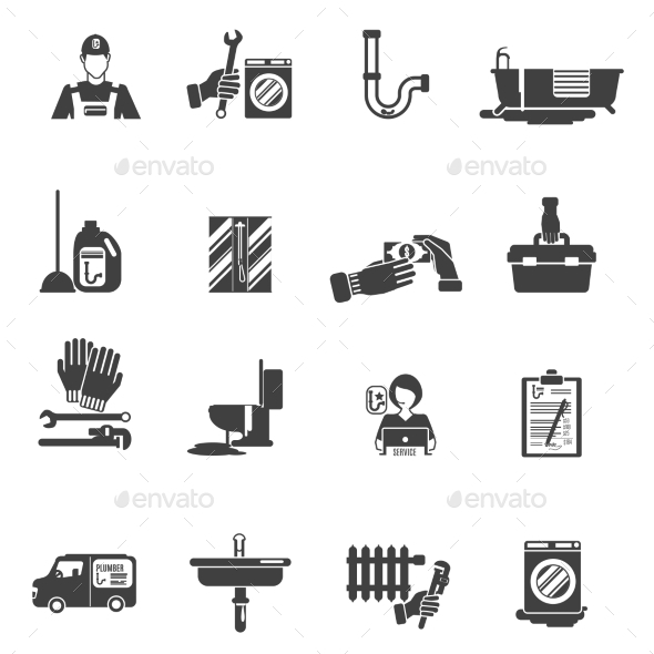 Plumber Service Black Icons Collection - Abstract Icons