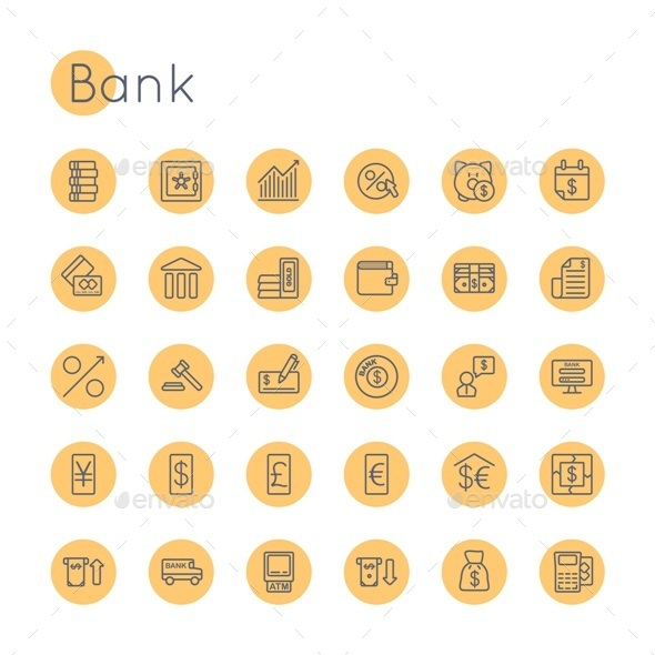 Vector Round Bank Icons - Business Icons