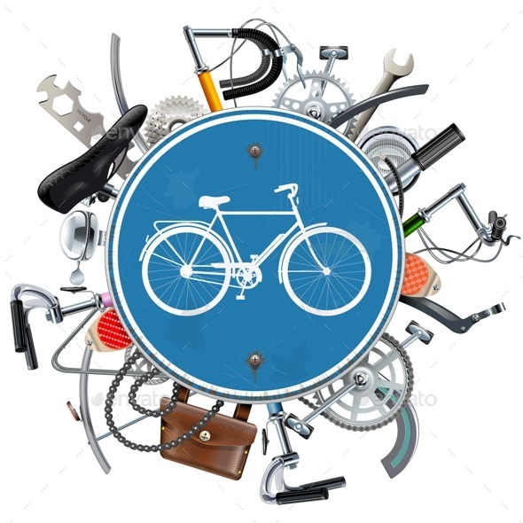 Vector Bicycle Spares Concept with Blue Round Sign - Sports/Activity Conceptual