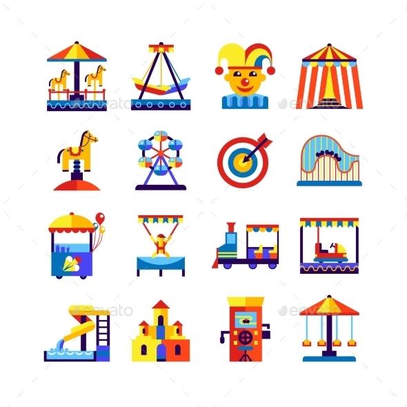 Amusement Park Icons Set - Decorative Symbols Decorative