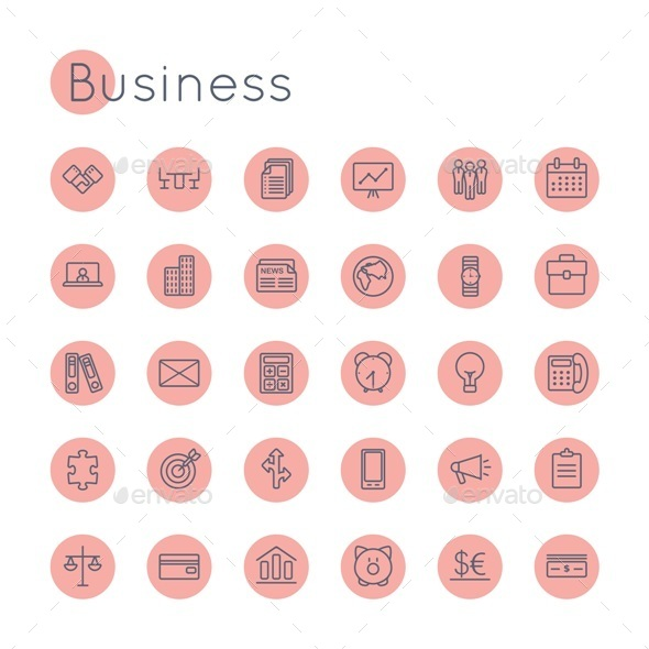Vector Round Business Icons - Business Icons