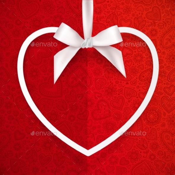 White Heart Shape Frame Hanging on Silky Ribbon - Valentines Seasons/Holidays