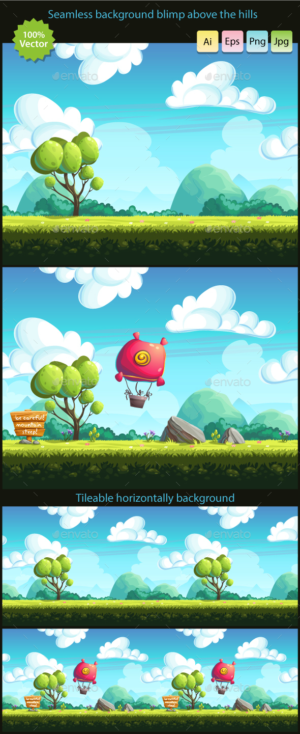 Blimp above the hills - seamless background  - Backgrounds Game Assets