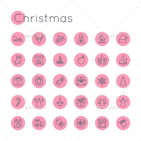 Vector Round Christmas Icons - Seasonal Icons