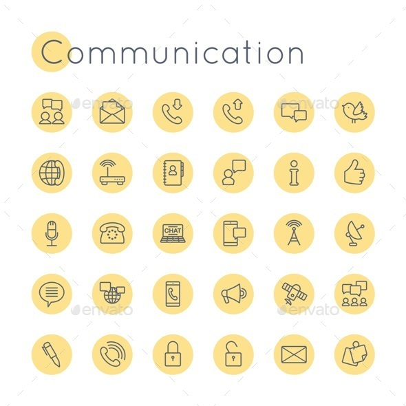 Vector Round Communication Icons - Web Icons