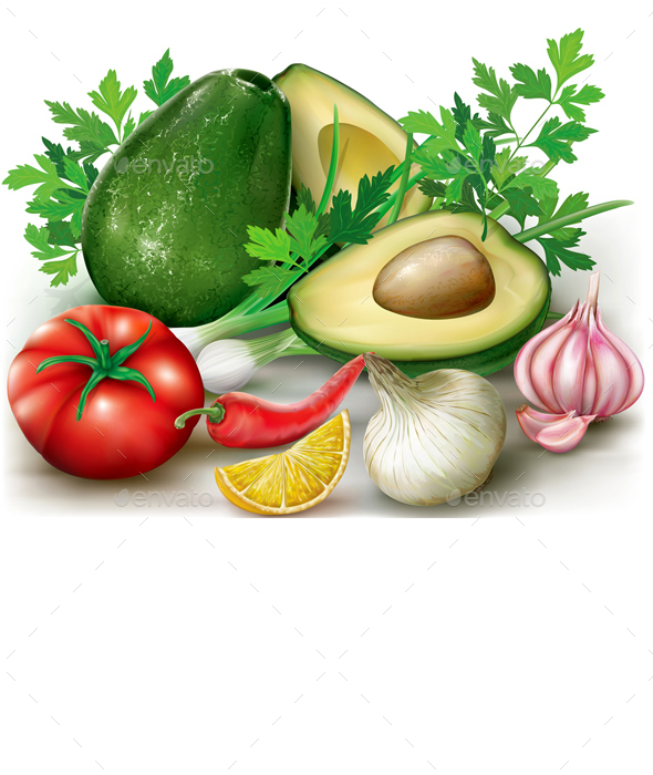 Ingredients for Avocado Guacamole - Food Objects