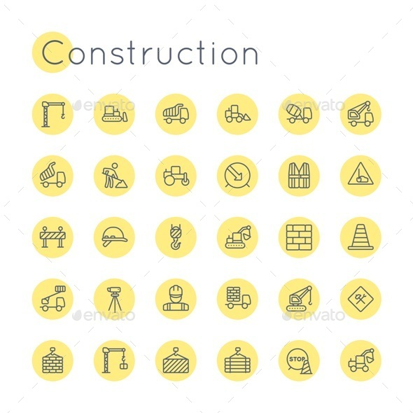 Vector Round Construction Icons - Miscellaneous Icons