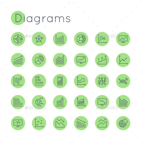 Vector Round Diagrams Icons - Business Icons