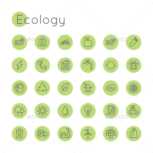 Vector Round Ecology Icons - Miscellaneous Icons