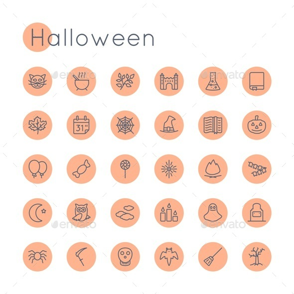 Vector Round Halloween Icons - Seasonal Icons