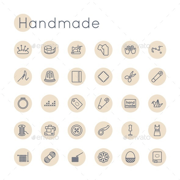 Vector Round Handmade Icons - Man-made objects Objects