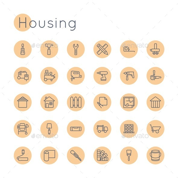 Vector Round Housing Icons - Miscellaneous Icons